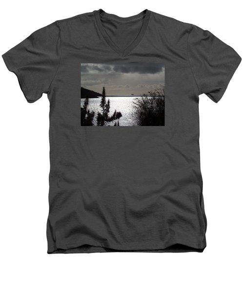 Silver Men's V-Neck T-Shirt by Richard Brookes