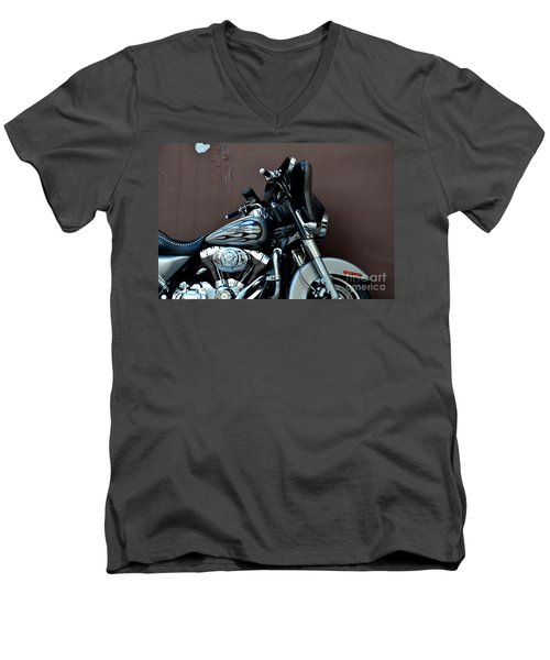 Men's V-Neck T-Shirt featuring the photograph Silver Harley Motorcycle by Imran Ahmed