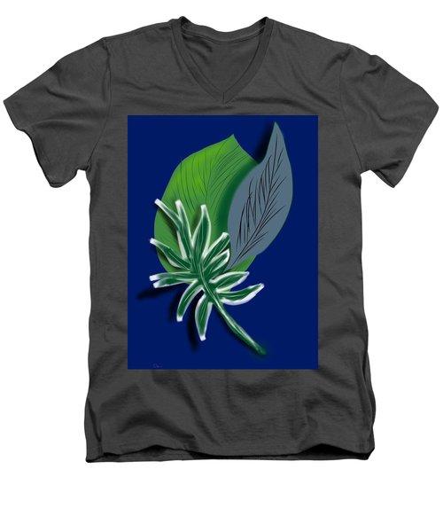 Men's V-Neck T-Shirt featuring the digital art Silver Leaf And Fern I by Christine Fournier