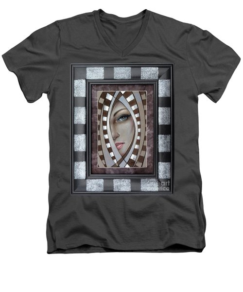 Men's V-Neck T-Shirt featuring the painting Silver Memories 220414 Framed by Selena Boron