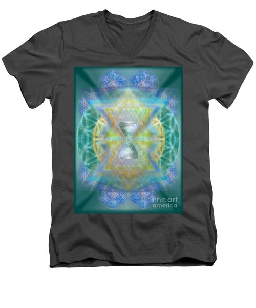 Men's V-Neck T-Shirt featuring the digital art Silver Torquoise Chalicell Ring Flower Of Life Matrix by Christopher Pringer