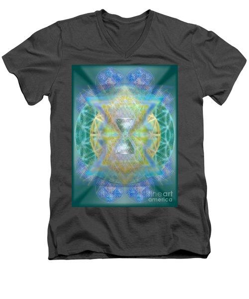 Silver Torquoise Chalicell Ring Flower Of Life Matrix Men's V-Neck T-Shirt