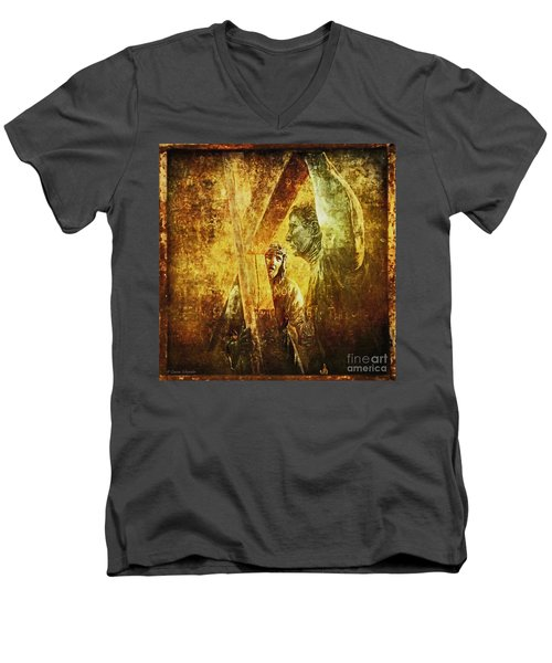 Simon Helps Jesus Via Dolorosa 5 Men's V-Neck T-Shirt by Lianne Schneider