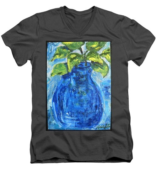 Men's V-Neck T-Shirt featuring the painting Simple Greens by Reina Resto