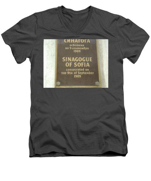 Sinagogue Of Sofia Bulgaria Men's V-Neck T-Shirt
