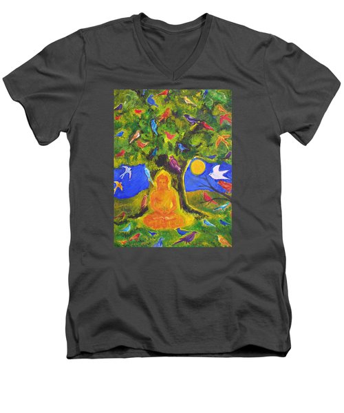 Buddha And The Birds Men's V-Neck T-Shirt