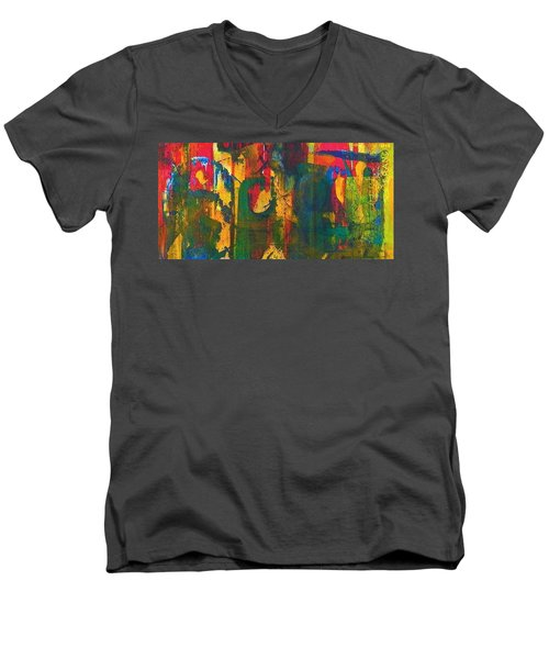 Men's V-Neck T-Shirt featuring the painting Sisters by Anna Ruzsan