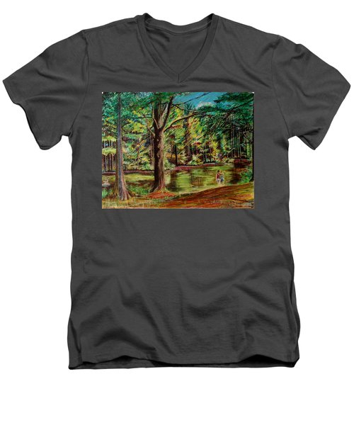 Sisters At Wason Pond Men's V-Neck T-Shirt by Sean Connolly