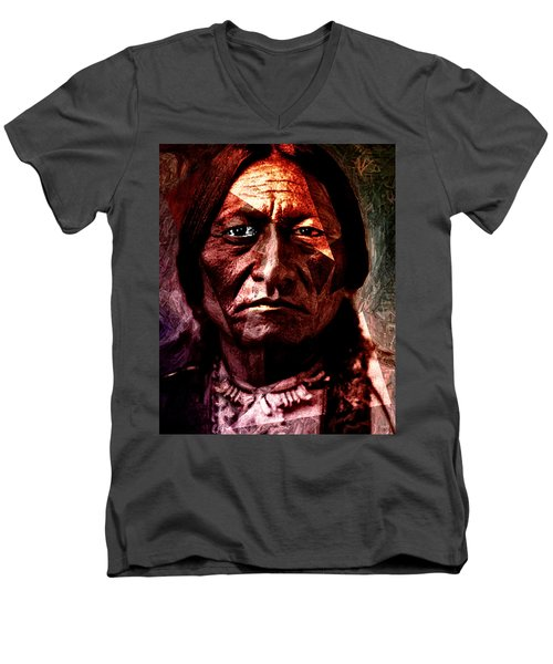 Sitting Bull - Warrior - Medicine Man Men's V-Neck T-Shirt by Hartmut Jager