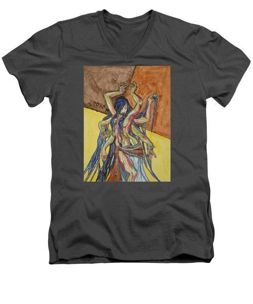 Six Armed Goddess Men's V-Neck T-Shirt by Stormm Bradshaw