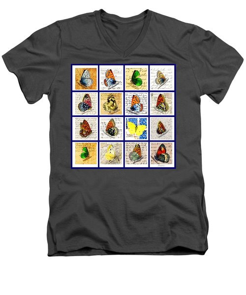 Men's V-Neck T-Shirt featuring the painting Sixteen Butterflies by Marian Cates