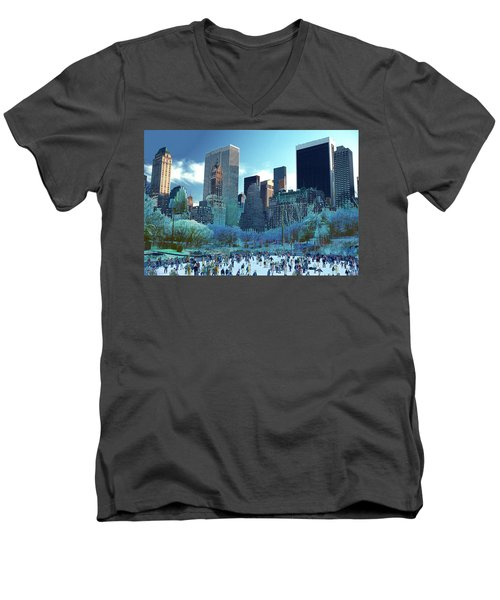 Men's V-Neck T-Shirt featuring the photograph Skating Fantasy Wollman Rink New York City by Tom Wurl