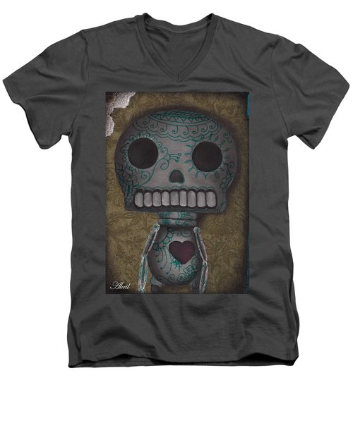 Skelly With A Heart Men's V-Neck T-Shirt by Abril Andrade Griffith