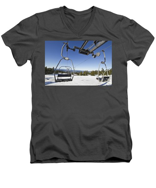 Ski Lifts At Mount Hood In Oreon Men's V-Neck T-Shirt