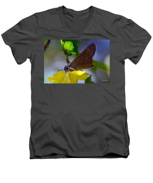 Skipper Butterfly Men's V-Neck T-Shirt by Debra Martz