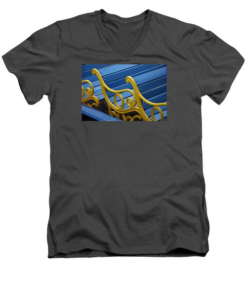 Men's V-Neck T-Shirt featuring the photograph Skc 0246 The Garden Benches by Sunil Kapadia