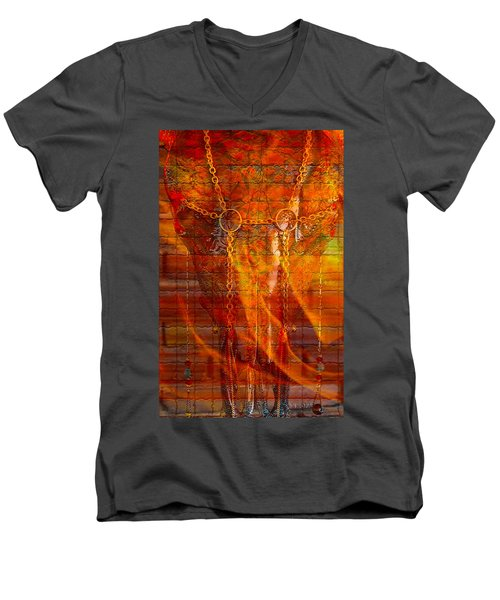 Skull On Fire Men's V-Neck T-Shirt