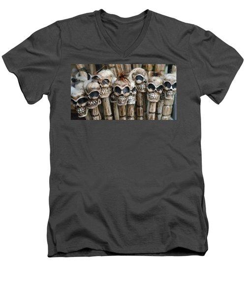 Skull Sticks Men's V-Neck T-Shirt