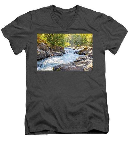 Skutz Falls At Cowichan River Provincial Park Men's V-Neck T-Shirt