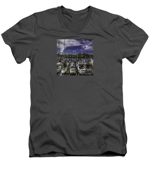 Men's V-Neck T-Shirt featuring the photograph Sky Embrace by Jean OKeeffe Macro Abundance Art