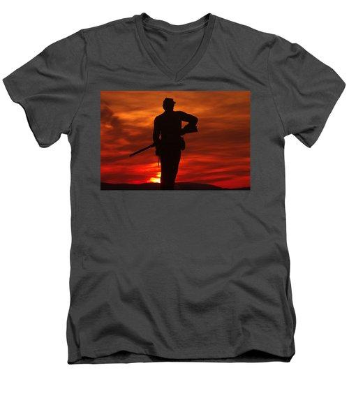 Men's V-Neck T-Shirt featuring the photograph Sky Fire - 111th New York Infantry Hancock Avenue Brian Farm Cemetery Ridge Sunset Winter Gettysburg by Michael Mazaika