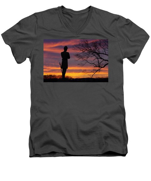 Men's V-Neck T-Shirt featuring the photograph Sky Fire - 124th Ny Infantry Orange Blossoms-1a Sickles Ave Devils Den Sunset Autumn Gettysburg by Michael Mazaika