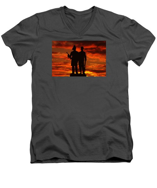 Men's V-Neck T-Shirt featuring the photograph Sky Fire - 73rd Ny Infantry Fourth Excelsior Second Fire Zouaves-a1 Sunrise Autumn Gettysburg by Michael Mazaika