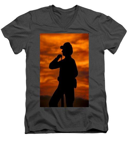 Men's V-Neck T-Shirt featuring the photograph Sky Fire - Flames Of Battle 7th Pennsylvania Reserve Volunteer Infantry-a1 Sunset Antietam by Michael Mazaika