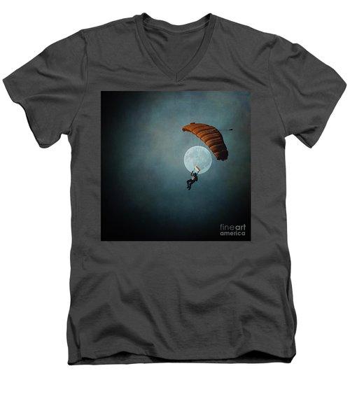 Skydiver's Moon Men's V-Neck T-Shirt
