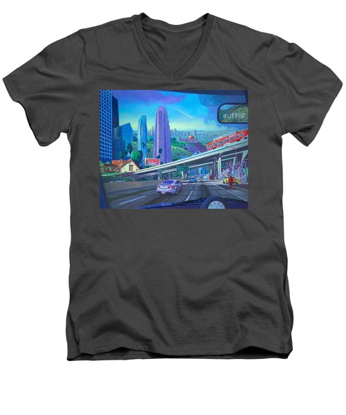 Men's V-Neck T-Shirt featuring the painting Skyfall Double Vision by Art James West