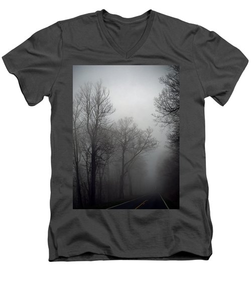 Skyline Drive In Fog Men's V-Neck T-Shirt