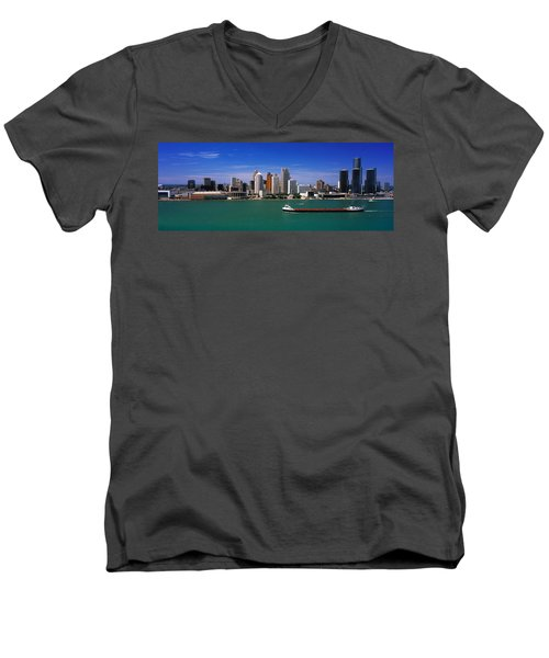 Skylines At The Waterfront, River Men's V-Neck T-Shirt