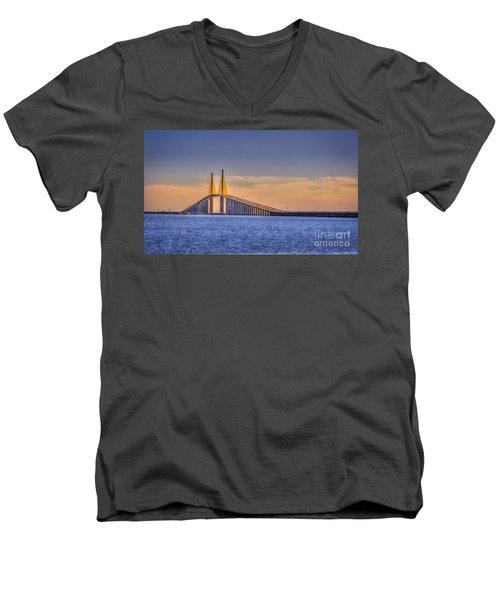 Skyway Bridge Men's V-Neck T-Shirt by Marvin Spates