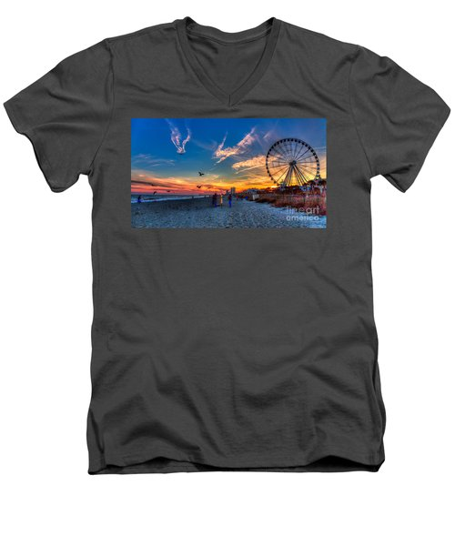 Skywheel Sunset At Myrtle Beach Men's V-Neck T-Shirt by Robert Loe