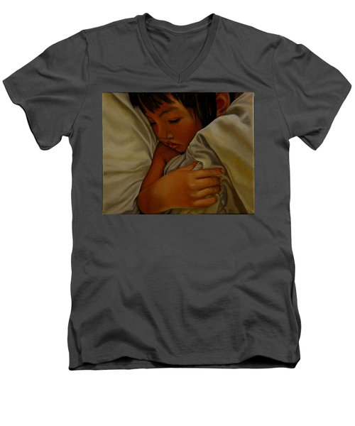 Sleep Men's V-Neck T-Shirt by Thu Nguyen