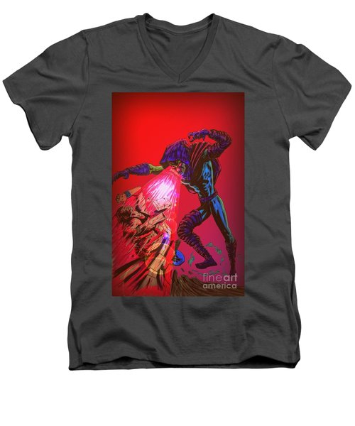Men's V-Neck T-Shirt featuring the drawing Sleepwalker 1c by Justin Moore