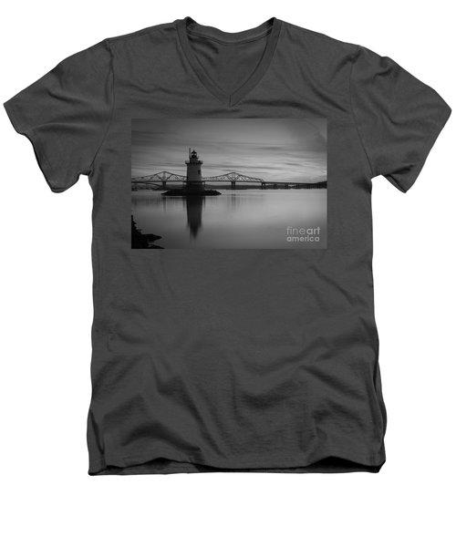 Sleepy Hollow Lighthouse Bw Men's V-Neck T-Shirt