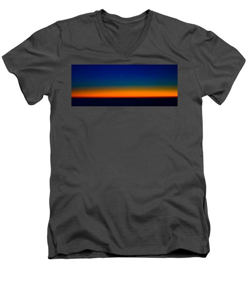 Men's V-Neck T-Shirt featuring the photograph Slice Of Moon In The Night Sky by Don Schwartz