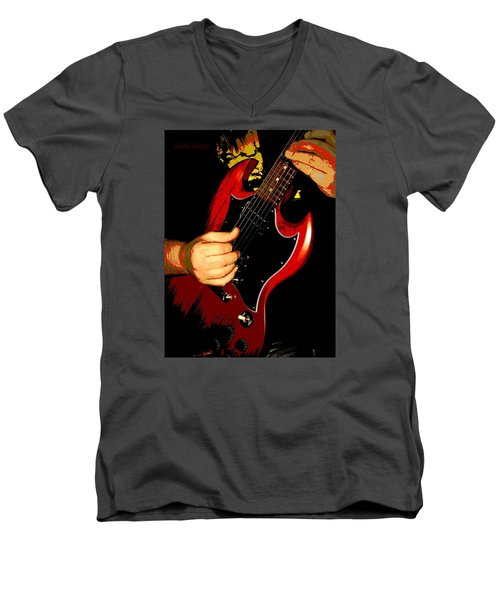 Red Gibson Guitar Men's V-Neck T-Shirt