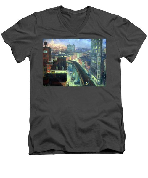 Sloan's The City From Greenwich Village Men's V-Neck T-Shirt