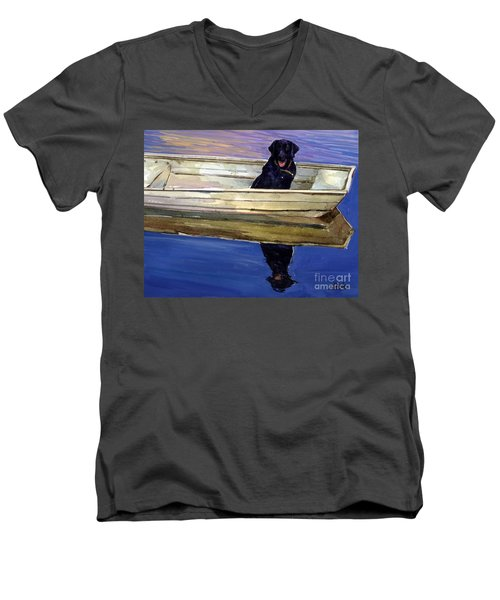 Slow Boat Men's V-Neck T-Shirt by Molly Poole