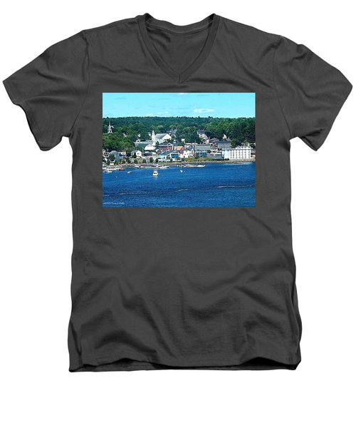 Small Coastal Town America Men's V-Neck T-Shirt by Tara Potts