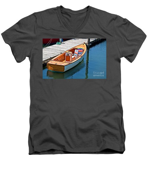 Men's V-Neck T-Shirt featuring the photograph Small Dinghy Boat Art Prints by Valerie Garner