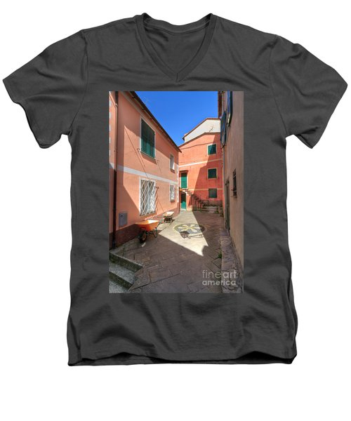 small square in Camogli Men's V-Neck T-Shirt
