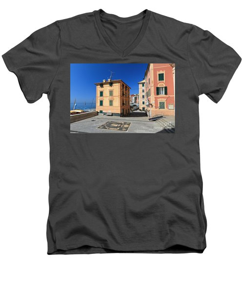 Men's V-Neck T-Shirt featuring the photograph small square in Sori by Antonio Scarpi