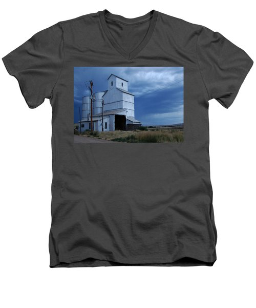 Men's V-Neck T-Shirt featuring the photograph Small Town Hot Night Big Storm by Cathy Anderson