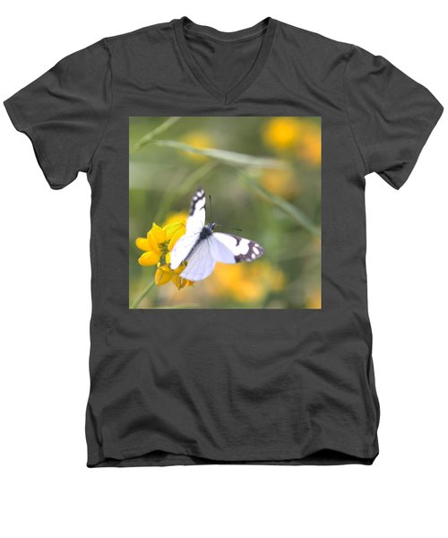 Small White Butterfly On Yellow Flower Men's V-Neck T-Shirt by Belinda Greb