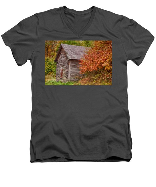 Men's V-Neck T-Shirt featuring the photograph Small Wooden Shack In The Autumn Colors by Jeff Folger