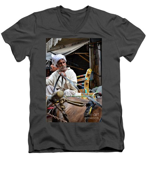 Smiling Man Drives Horse Carriage In Lahore Pakistan Men's V-Neck T-Shirt