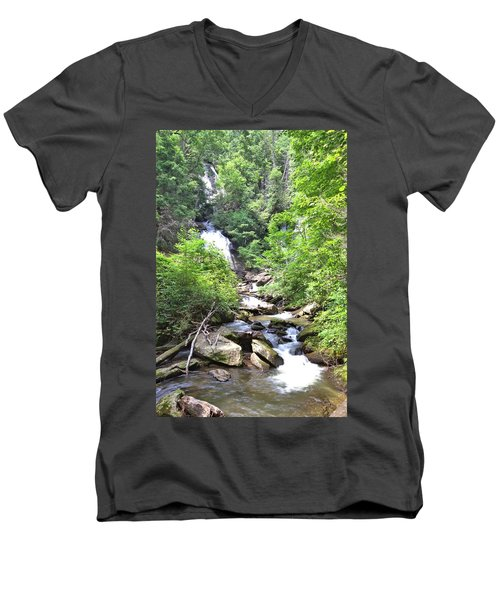 Smith Creek Downstream Of Anna Ruby Falls - 3 Men's V-Neck T-Shirt by Gordon Elwell